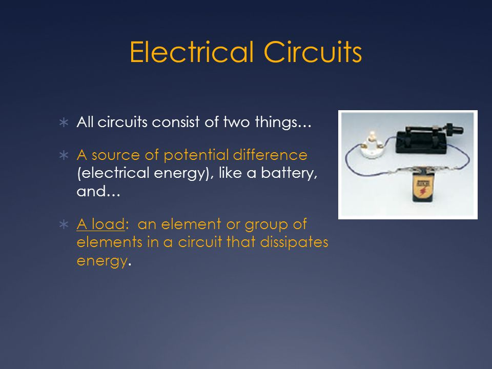 Electrical Circuits  All circuits consist of two things…  A source of potential difference (electrical energy), like a battery, and…  A load: an el