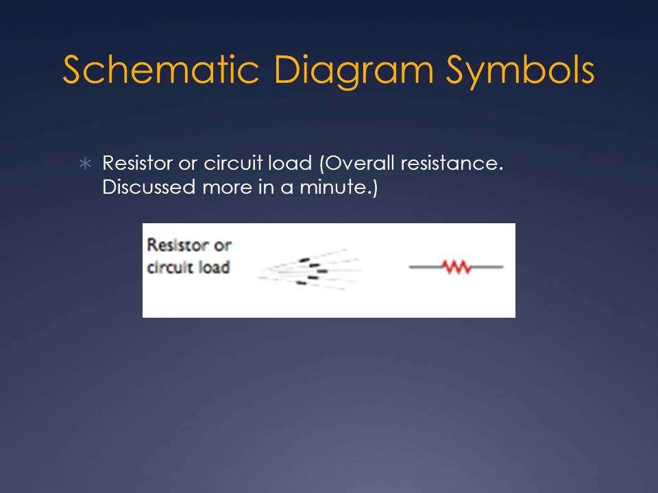 Schematic Diagram Symbols  Resistor or circuit load (Overall resistance. Discussed more in a minute.)