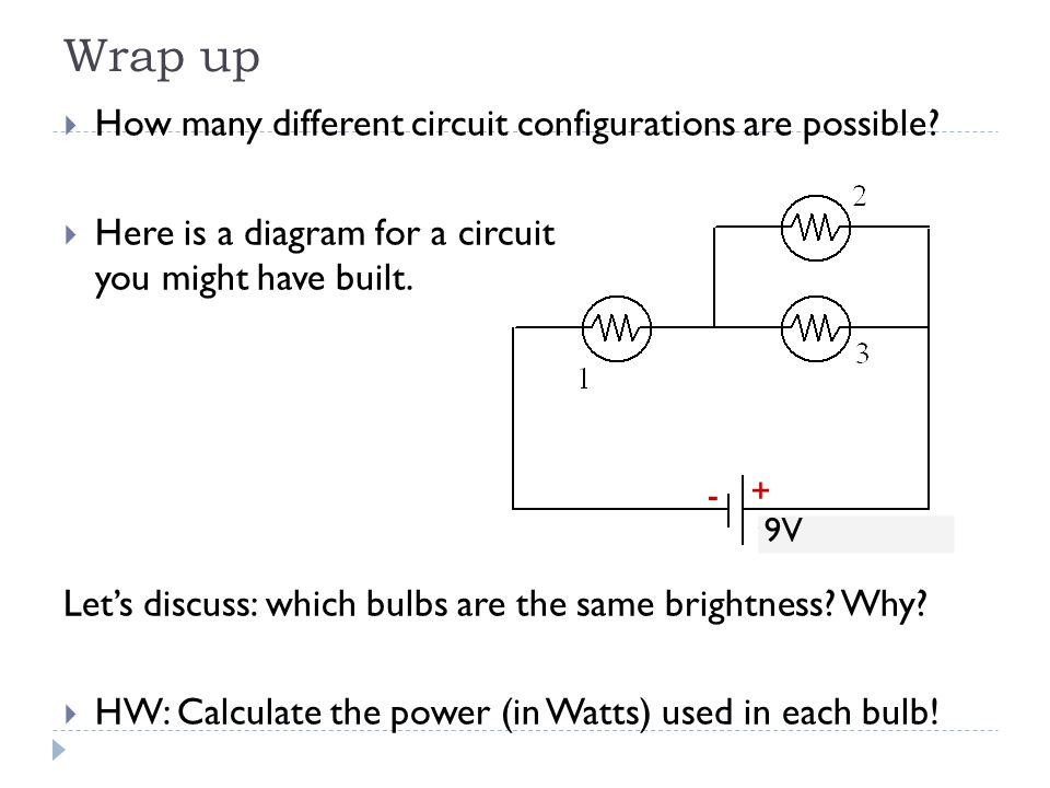 Wrap up  How many different circuit configurations are possible?  Here is a diagram for a circuit you might have built. Let's discuss: which bulbs a