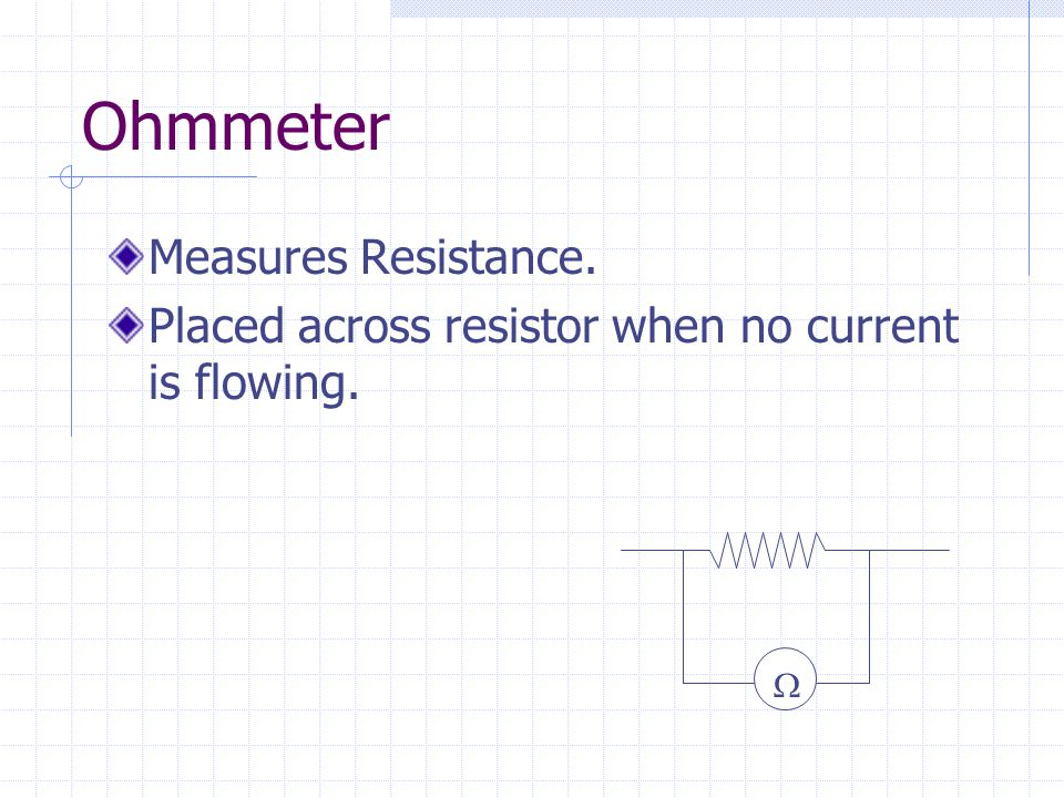 Ohmmeter Measures Resistance. Placed across resistor when no current is flowing. 