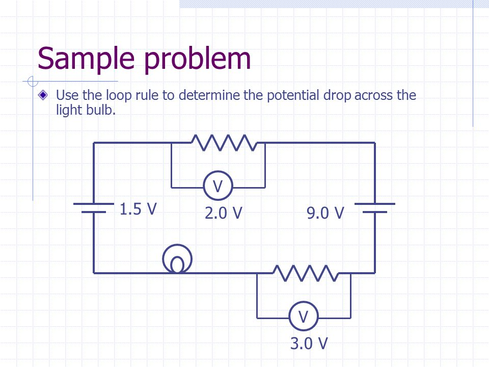 Sample problem Use the loop rule to determine the potential drop across the light bulb. 1.5 V 9.0 V V 2.0 V V 3.0 V