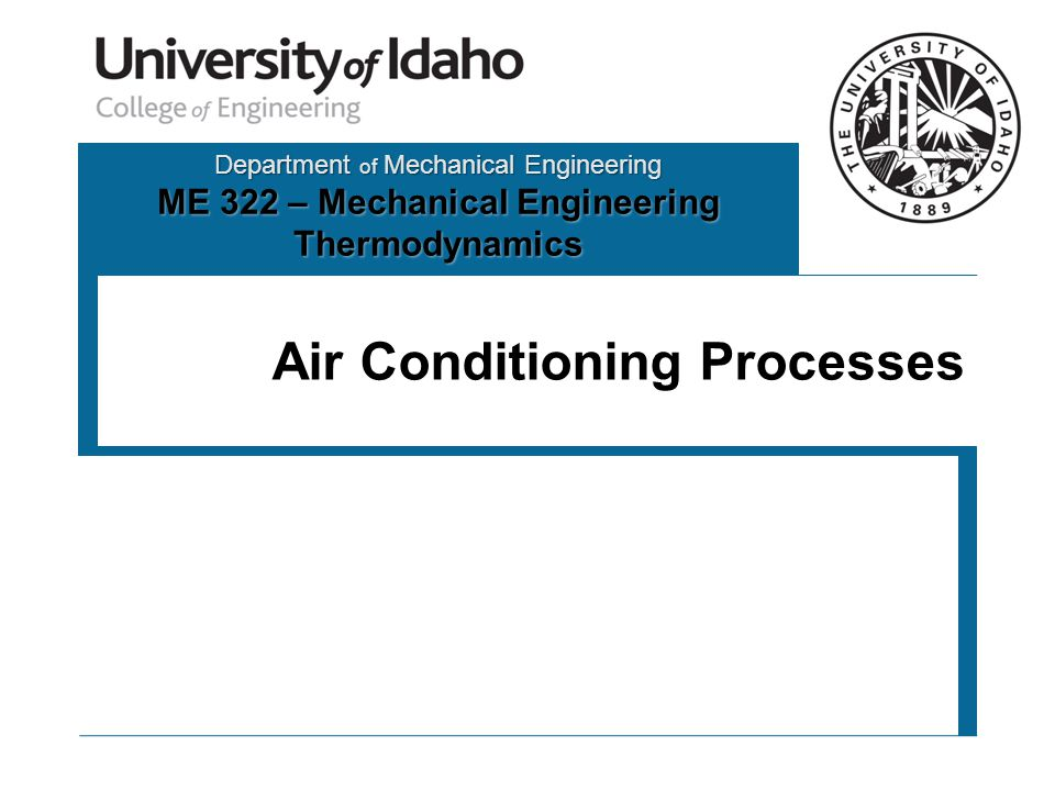 Department of Mechanical Engineering ME 322 – Mechanical Engineering Thermodynamics Air Conditioning Processes