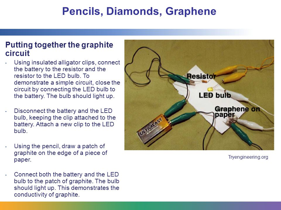 Pencils, Diamonds, Graphene Putting together the graphite circuit Using insulated alligator clips, connect the battery to the resistor and the resistor to the LED bulb.