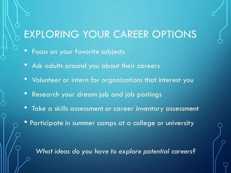 EXPLORING YOUR CAREER OPTIONS Focus on your favorite subjects Ask adults around you about their careers Volunteer or intern for organizations that interest you Research your dream job and job postings Take a skills assessment or career inventory assessment Participate in summer camps at a college or university What ideas do you have to explore potential careers