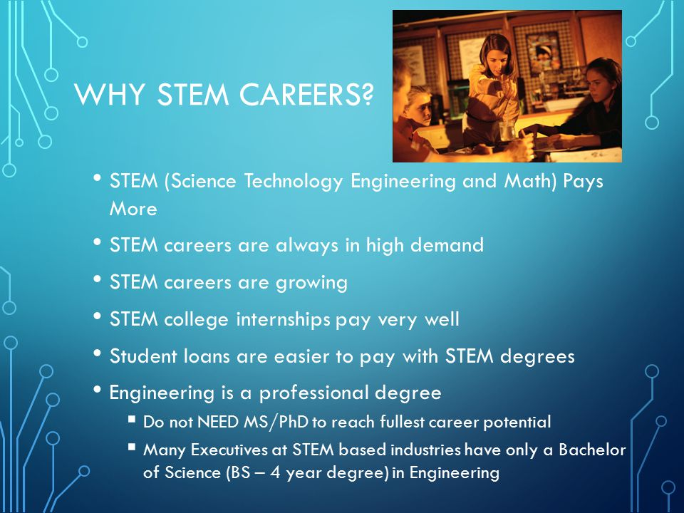 WHY STEM CAREERS? STEM (Science Technology Engineering and Math) Pays More STEM careers are always in high demand STEM careers are growing STEM colleg