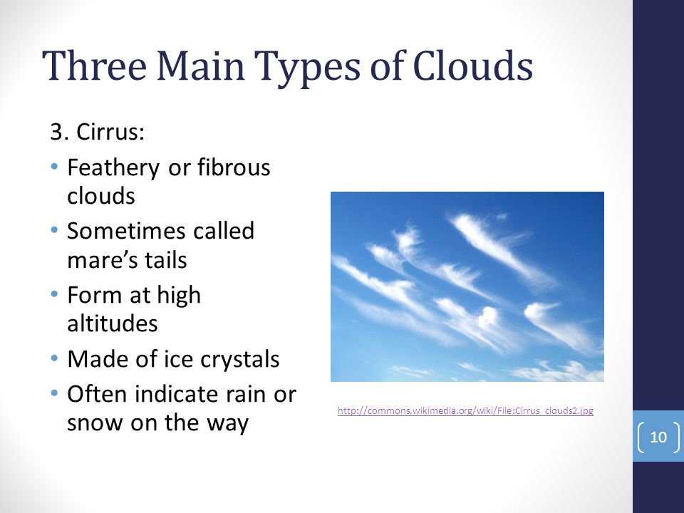 Three Main Types of Clouds 3.
