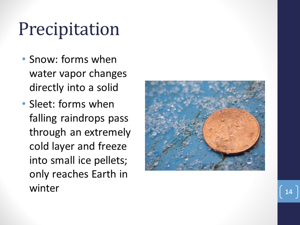 Precipitation Snow: forms when water vapor changes directly into a solid Sleet: forms when falling raindrops pass through an extremely cold layer and freeze into small ice pellets; only reaches Earth in winter 14