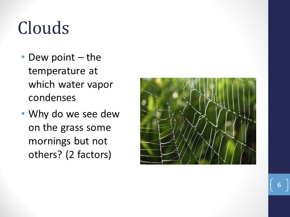 Clouds Dew point – the temperature at which water vapor condenses Why do we see dew on the grass some mornings but not others.