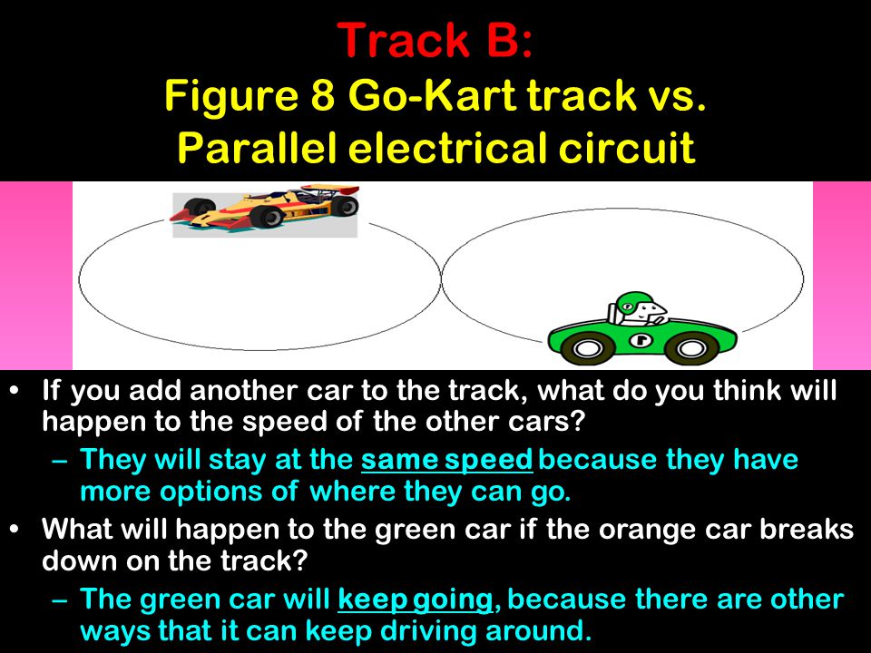 Track B: Figure 8 Go-Kart track vs. Parallel electrical circuit If you add another car to the track, what do you think will happen to the speed of the