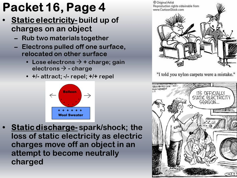 Packet 16, Page 4 Static electricity- build up of charges on an object –Rub two materials together –Electrons pulled off one surface, relocated on other surface Lose electrons  + charge; gain electrons  - charge +/- attract; -/- repel; +/+ repel Static discharge- spark/shock; the loss of static electricity as electric charges move off an object in an attempt to become neutrally charged