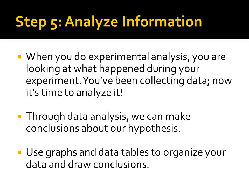  When you do experimental analysis, you are looking at what happened during your experiment.