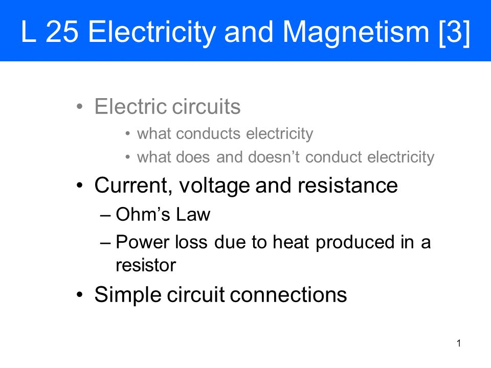 Heat produced in a resistor As we have seen before, friction causes heat The collisions between the electrons and the atoms in a conductor produce heat  wires get warm when they carry currents: in an electric stove this heat is used for cooking The amount of energy converted to heat each second is called the power loss in a resistor If the resistor has a voltage V across it and carries a current I, the electrical power converted to heat is given by Power: P = I  V = I  (I  R) = I 2  R From Ohm's law 11