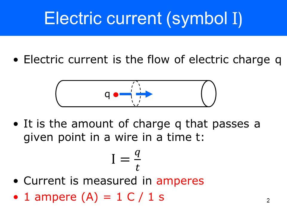 Electric current (symbol I) q 2