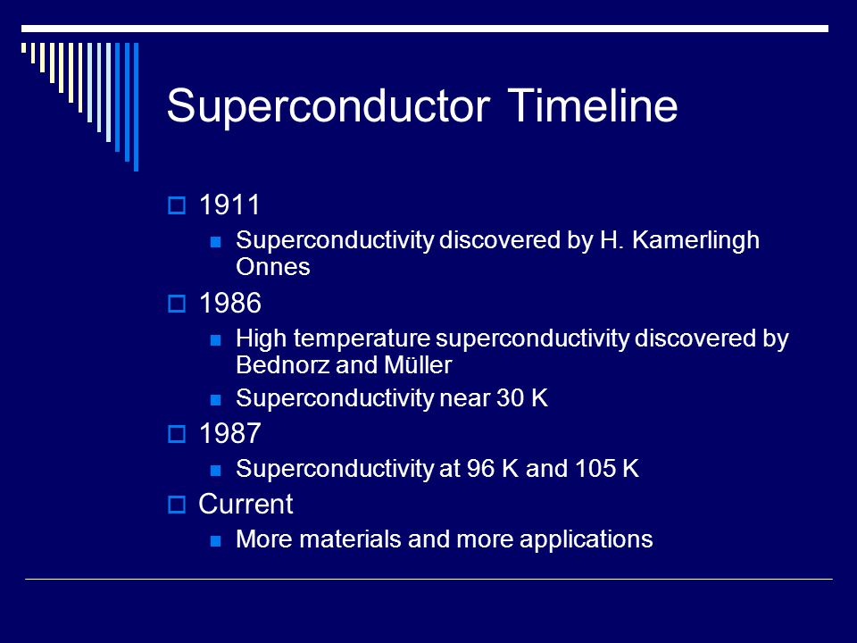 Superconductor Timeline  1911 Superconductivity discovered by H. Kamerlingh Onnes  1986 High temperature superconductivity discovered by Bednorz and