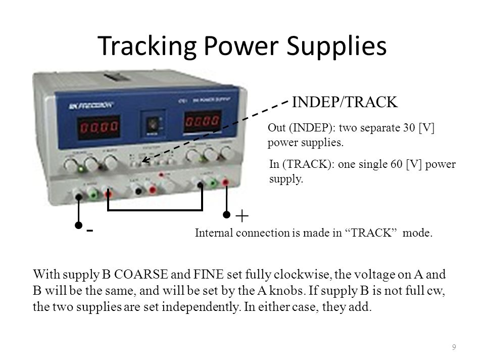 Tracking Power Supplies 10 In TRACK mode: In this mode, supply B will track supply A.