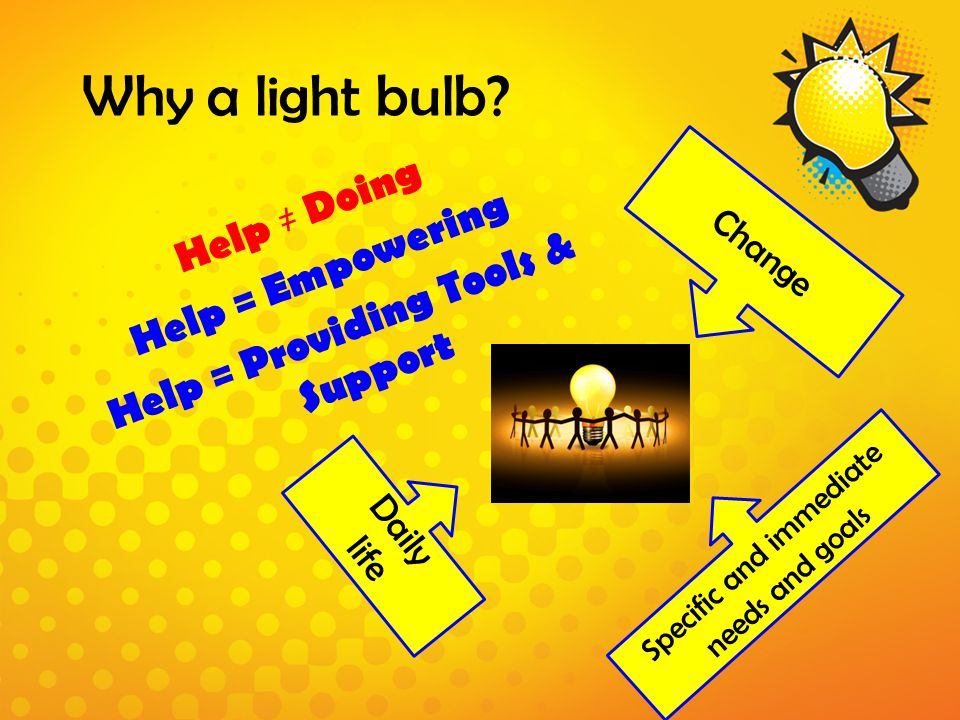Why a light bulb? Help ≠ Doing Help = Empowering Help = Providing Tools & Support Change Specific and immediate needs and goals Daily life