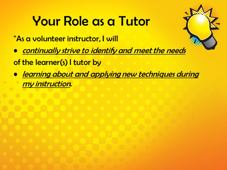 Your Role as a Tutor