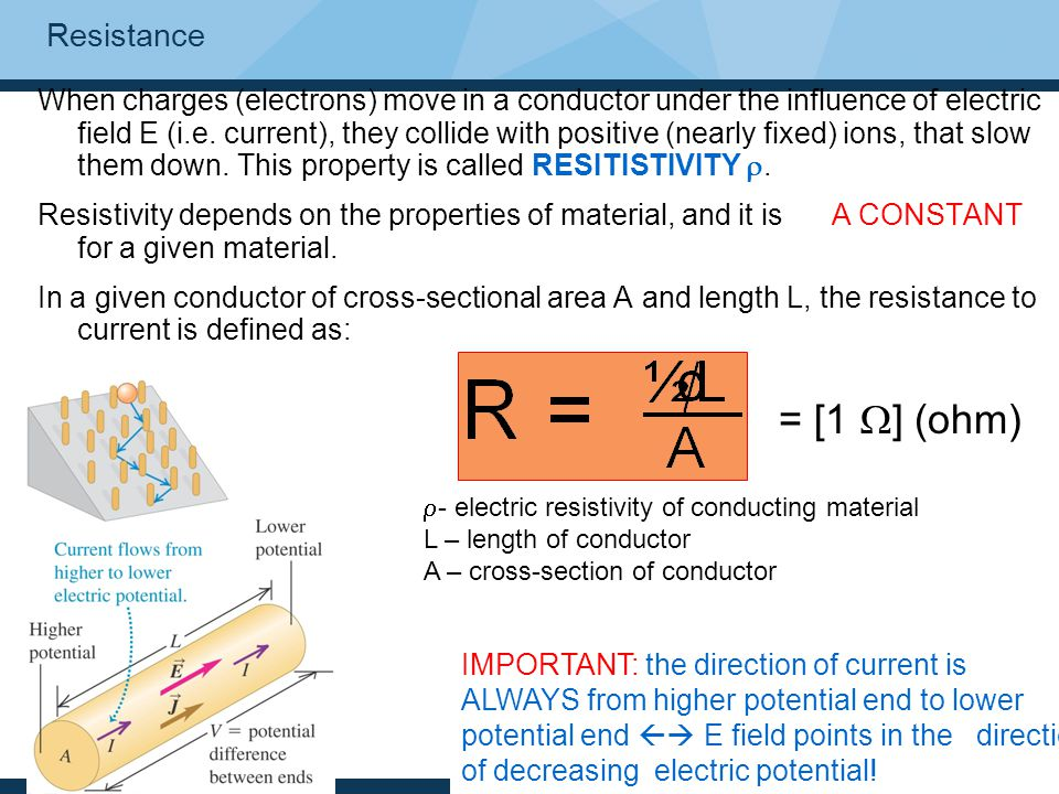 Resistance When charges (electrons) move in a conductor under the influence of electric field E (i.e. current), they collide with positive (nearly fix