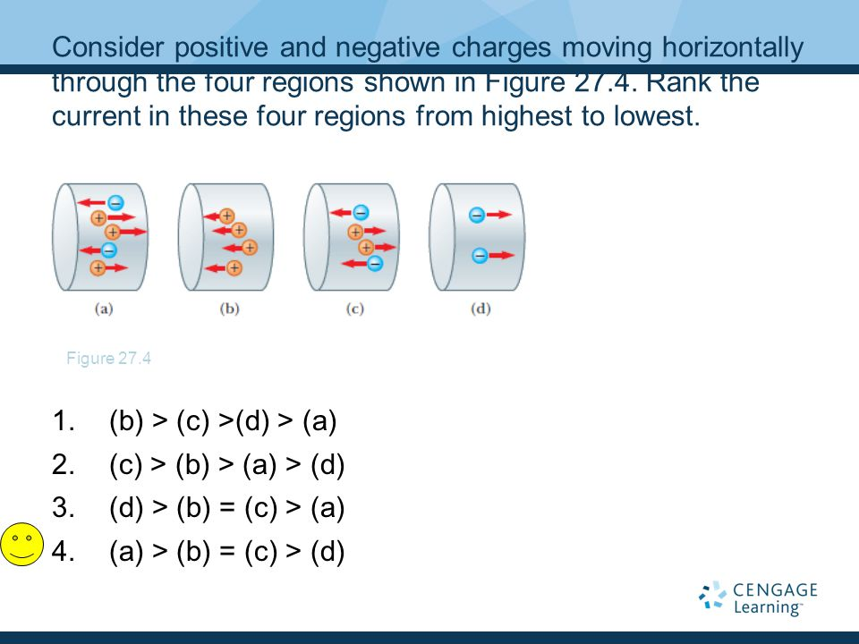 Consider positive and negative charges moving horizontally through the four regions shown in Figure 27.4. Rank the current in these four regions from