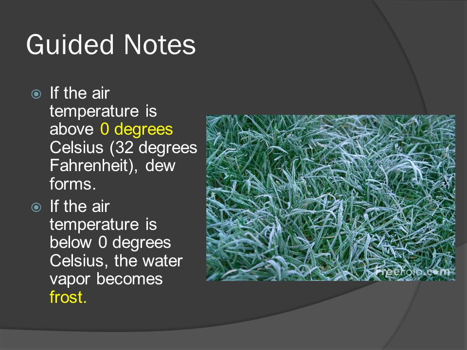 Guided Notes  If the air temperature is above 0 degrees Celsius (32 degrees Fahrenheit), dew forms.