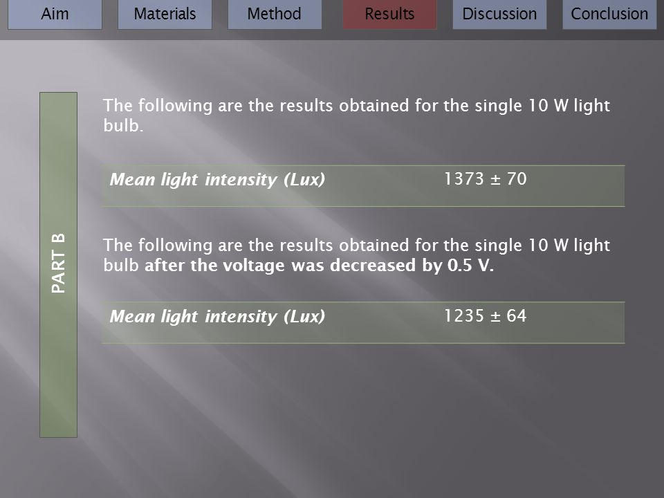 AimMaterialsMethodResultsDiscussionConclusion PART B The following are the results obtained for the single 10 W light bulb. The following are the resu