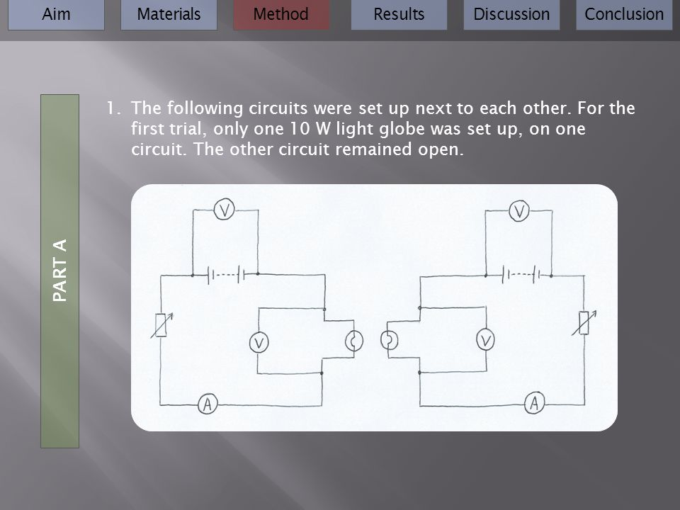 AimMaterialsMethodResultsDiscussionConclusion 1.The following circuits were set up next to each other. For the first trial, only one 10 W light globe