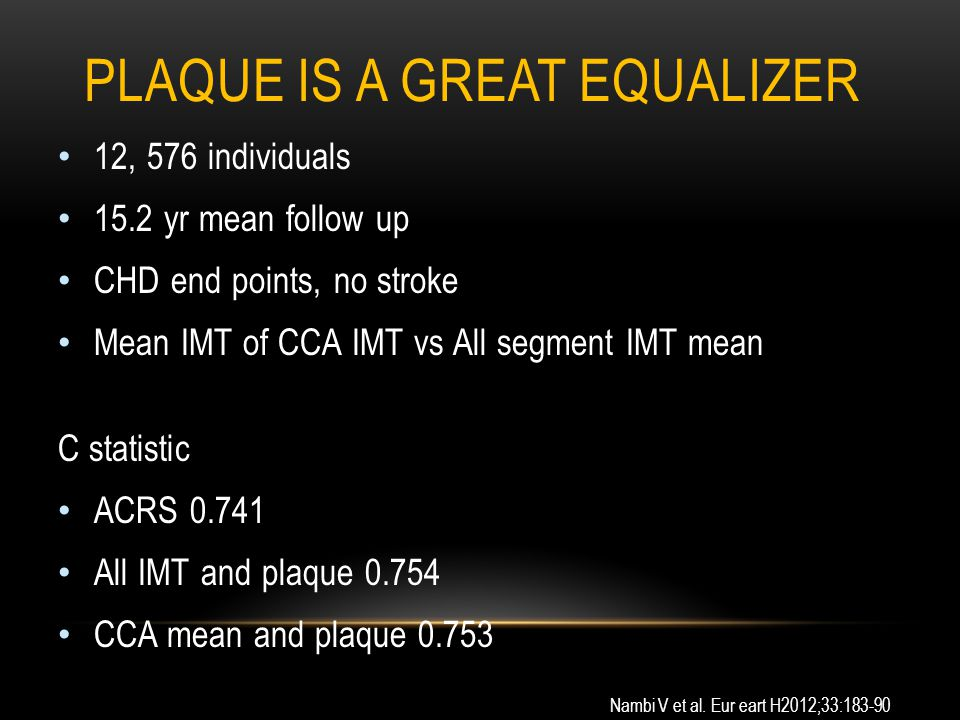 PLAQUE IS A GREAT EQUALIZER 12, 576 individuals 15.2 yr mean follow up CHD end points, no stroke Mean IMT of CCA IMT vs All segment IMT mean C statistic ACRS 0.741 All IMT and plaque 0.754 CCA mean and plaque 0.753 Nambi V et al.