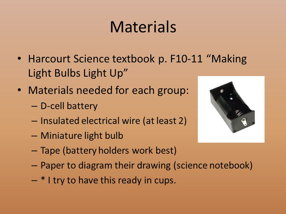 Materials Harcourt Science textbook p.