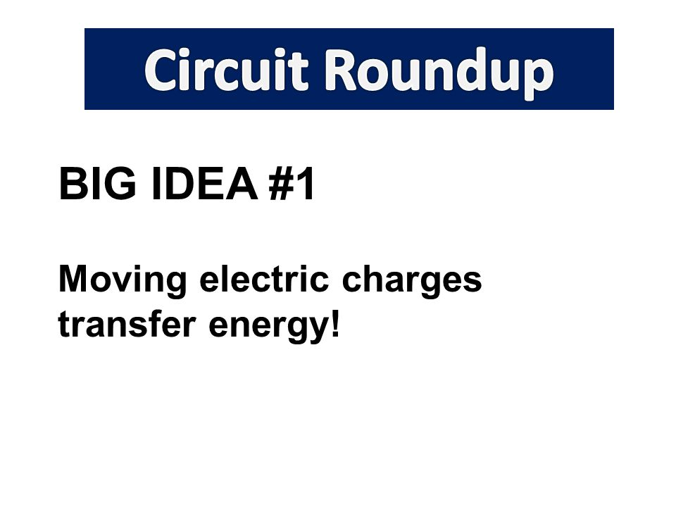 BIG IDEA #1 Moving electric charges transfer energy!
