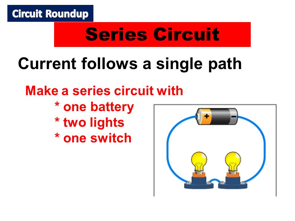 Current follows a single path Make a series circuit with * one battery * two lights * one switch Series Circuit