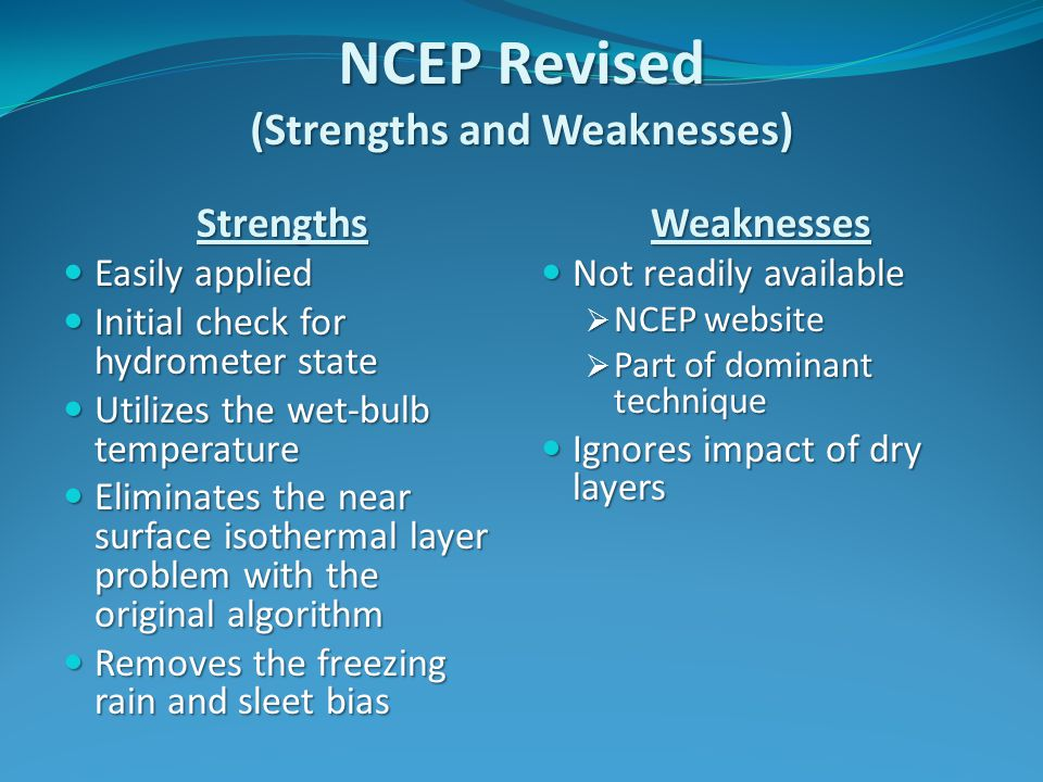 NCEP Revised (Strengths and Weaknesses) Strengths Easily applied Easily applied Initial check for hydrometer state Initial check for hydrometer state Utilizes the wet-bulb temperature Utilizes the wet-bulb temperature Eliminates the near surface isothermal layer problem with the original algorithm Eliminates the near surface isothermal layer problem with the original algorithm Removes the freezing rain and sleet bias Removes the freezing rain and sleet biasWeaknesses Not readily available Not readily available  NCEP website  Part of dominant technique Ignores impact of dry layers Ignores impact of dry layers