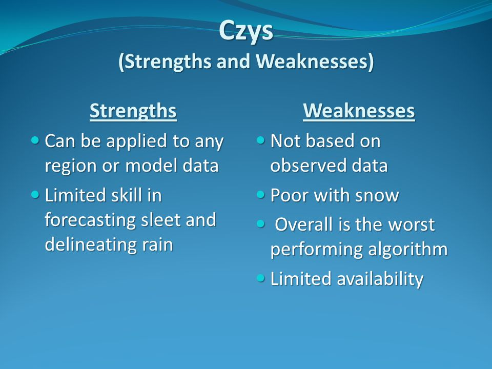 Czys (Strengths and Weaknesses) Strengths Can be applied to any region or model data Can be applied to any region or model data Limited skill in forecasting sleet and delineating rain Limited skill in forecasting sleet and delineating rainWeaknesses Not based on observed data Not based on observed data Poor with snow Poor with snow Overall is the worst performing algorithm Overall is the worst performing algorithm Limited availability Limited availability