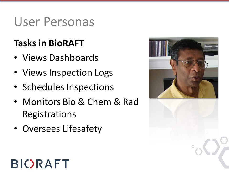 Tasks in BioRAFT Views Dashboards Views Inspection Logs Schedules Inspections Monitors Bio & Chem & Rad Registrations Oversees Lifesafety User Personas