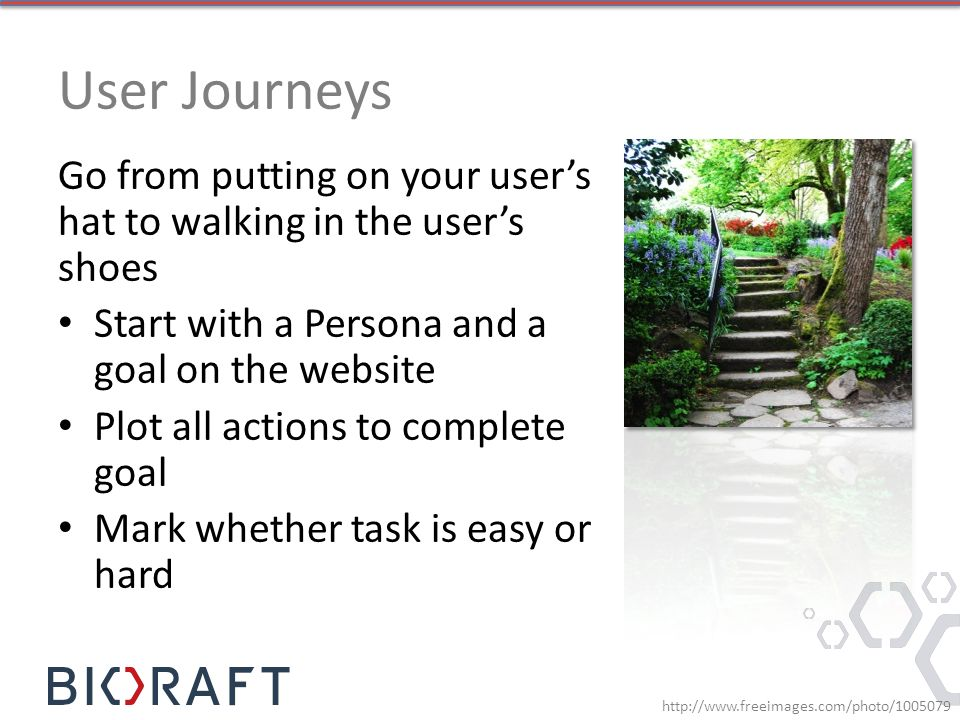 User Journeys Go from putting on your user's hat to walking in the user's shoes Start with a Persona and a goal on the website Plot all actions to complete goal Mark whether task is easy or hard http://www.freeimages.com/photo/1005079