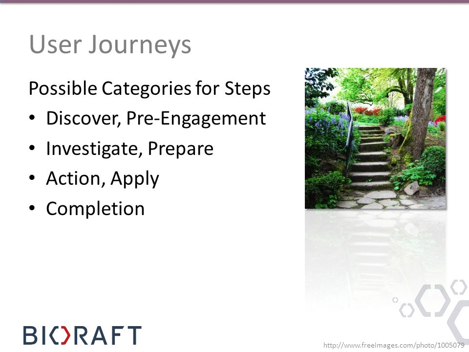 Possible Categories for Steps Discover, Pre-Engagement Investigate, Prepare Action, Apply Completion http://www.freeimages.com/photo/1005079
