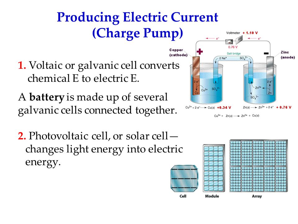 1.Voltaic or galvanic cell converts chemical E to electric E.