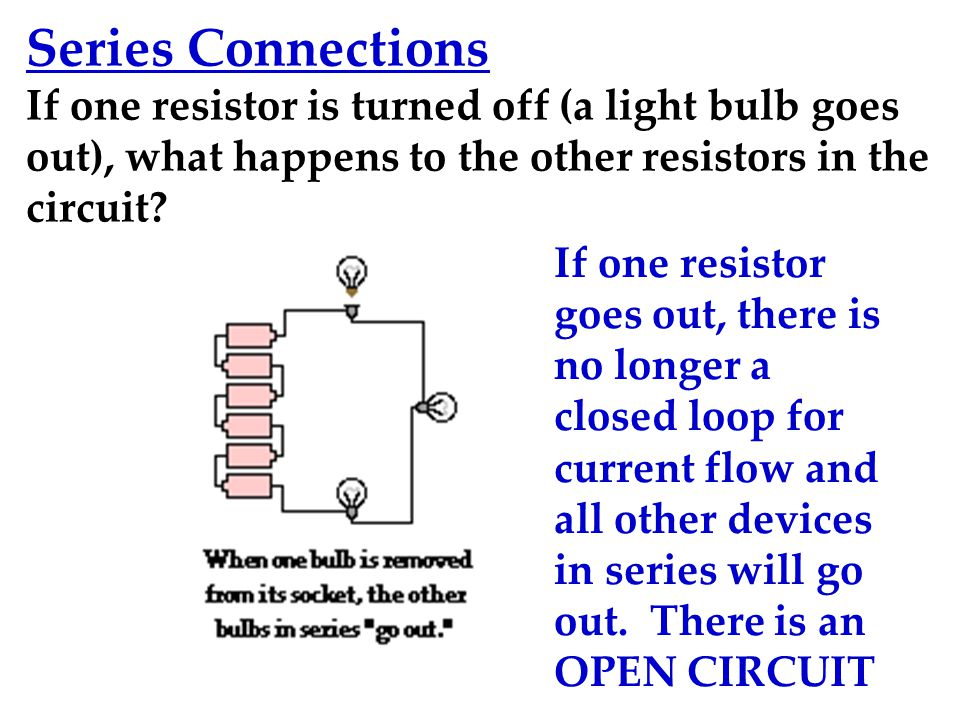 Series Connections If one resistor is turned off (a light bulb goes out), what happens to the other resistors in the circuit.