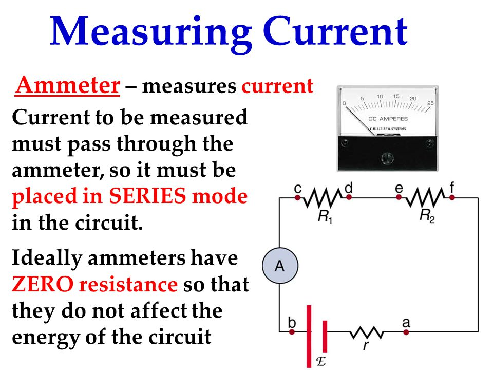 Measuring Current Current to be measured must pass through the ammeter, so it must be placed in SERIES mode in the circuit.