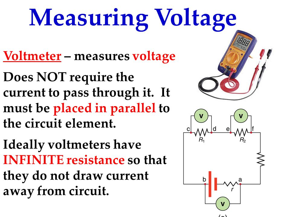 Measuring Voltage Voltmeter – measures voltage Does NOT require the current to pass through it.