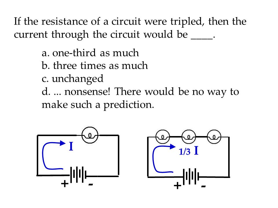 If the resistance of a circuit were tripled, then the current through the circuit would be ____.
