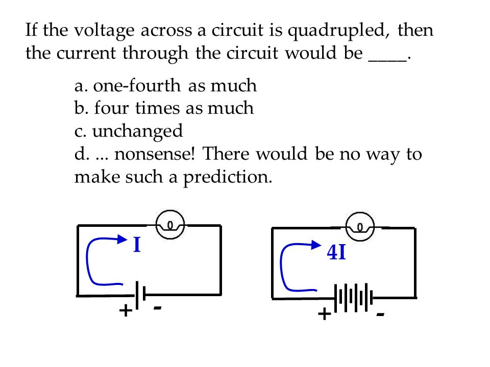 If the voltage across a circuit is quadrupled, then the current through the circuit would be ____.