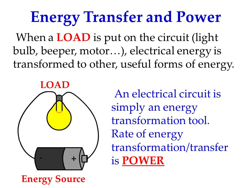 Energy Transfer and Power When a LOAD is put on the circuit (light bulb, beeper, motor…), electrical energy is transformed to other, useful forms of energy.