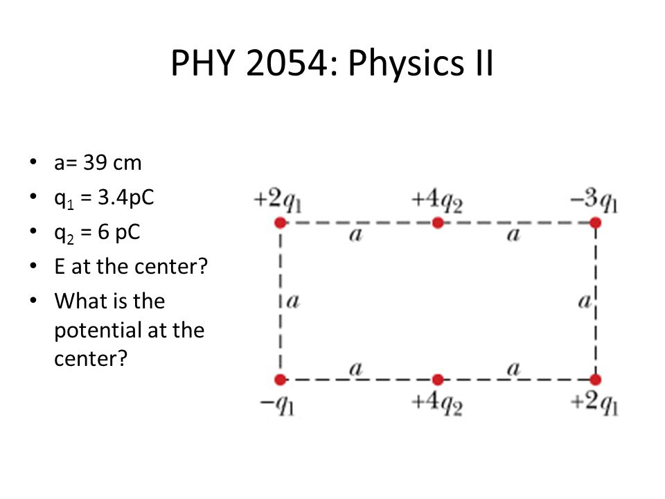 PHY 2054: Physics II a= 39 cm q 1 = 3.4pC q 2 = 6 pC E at the center.