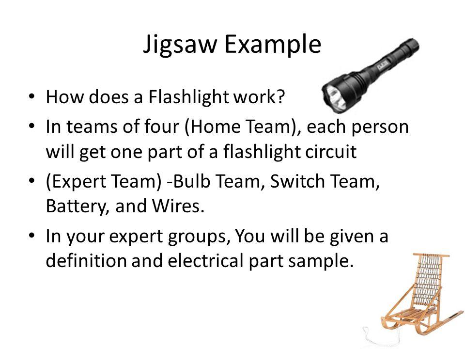 Jigsaw Example How does a Flashlight work.