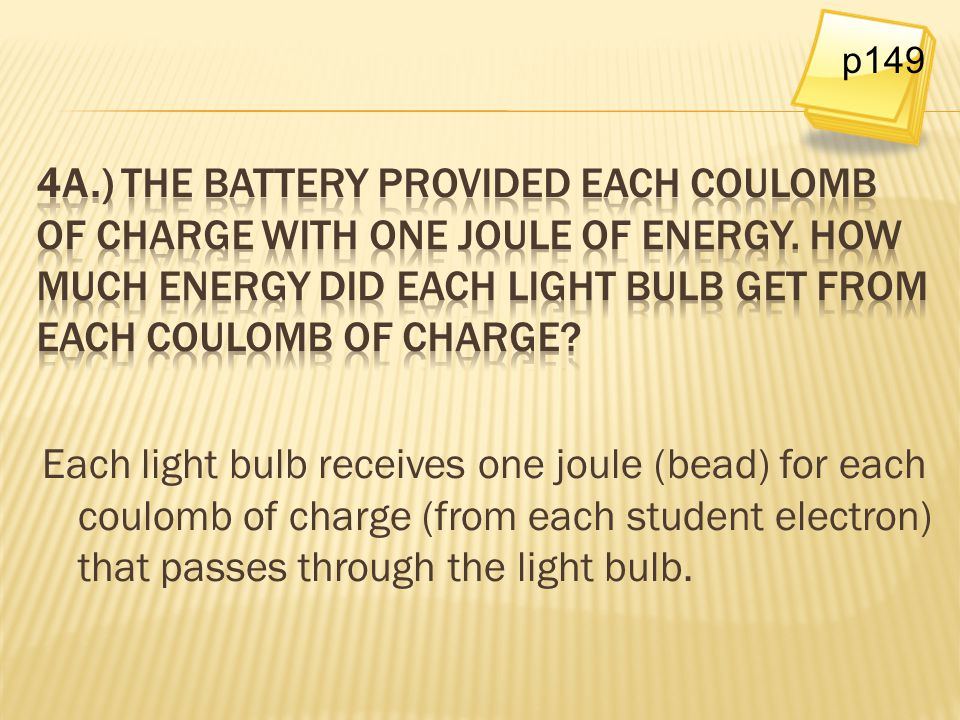 Each light bulb receives one joule (bead) for each coulomb of charge (from each student electron) that passes through the light bulb. p149