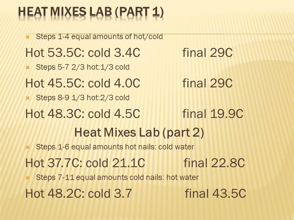  Steps 1-4 equal amounts of hot/cold Hot 53.5C: cold 3.4C final 29C  Steps 5-7 2/3 hot:1/3 cold Hot 45.5C: cold 4.0C final 29C  Steps 8-9 1/3 hot:2