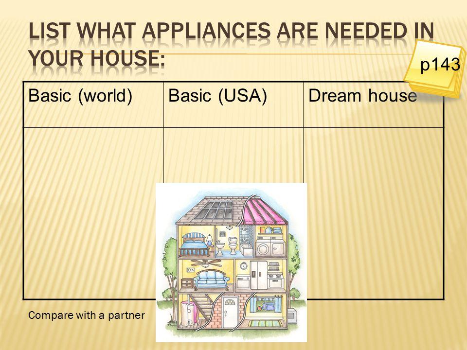 Basic (world)Basic (USA)Dream house Compare with a partner p143
