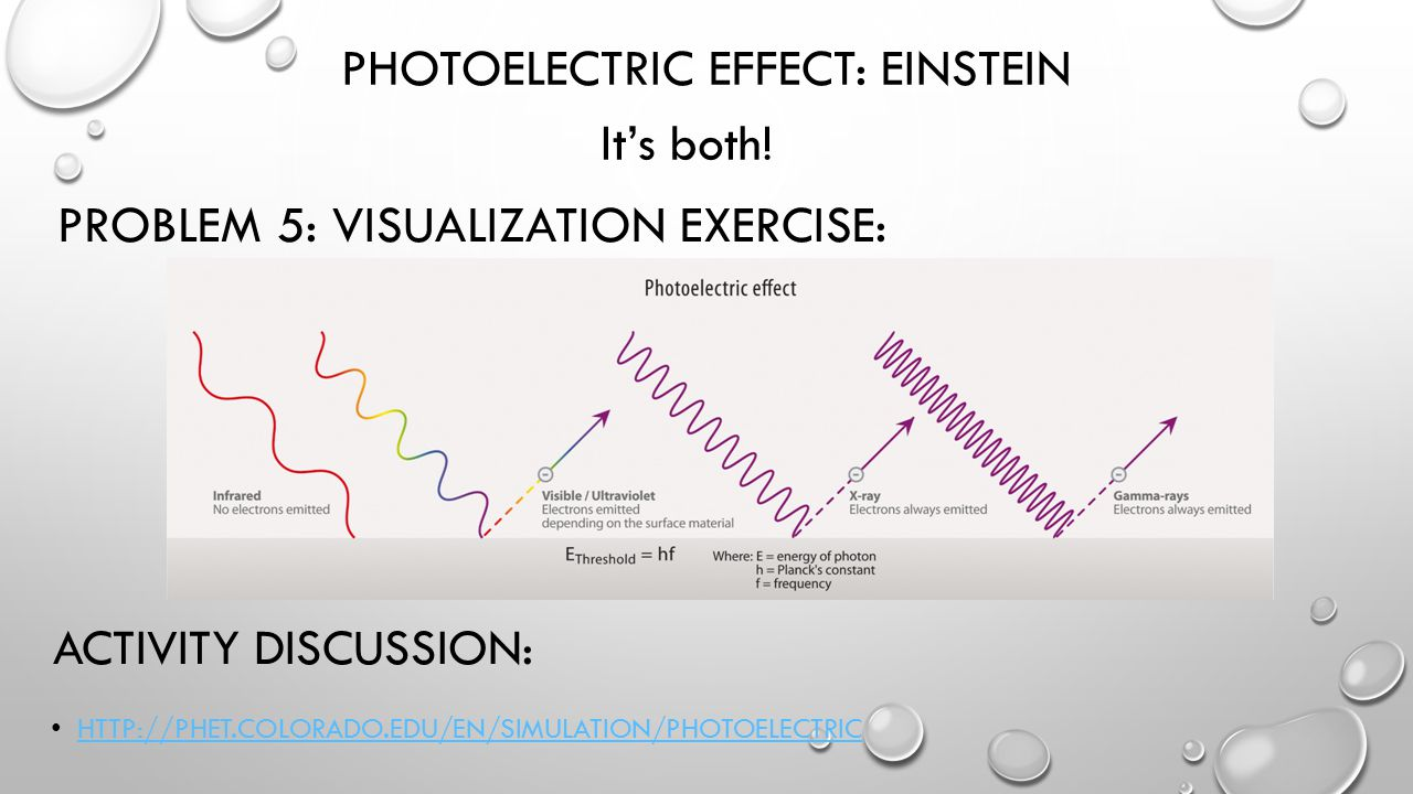 PROBLEM 5: VISUALIZATION EXERCISE: HTTP://PHET.COLORADO.EDU/EN/SIMULATION/PHOTOELECTRIC PHOTOELECTRIC EFFECT: EINSTEIN It's both.