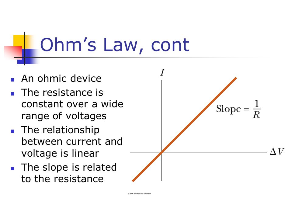 Ohm's Law, cont An ohmic device The resistance is constant over a wide range of voltages The relationship between current and voltage is linear The slope is related to the resistance