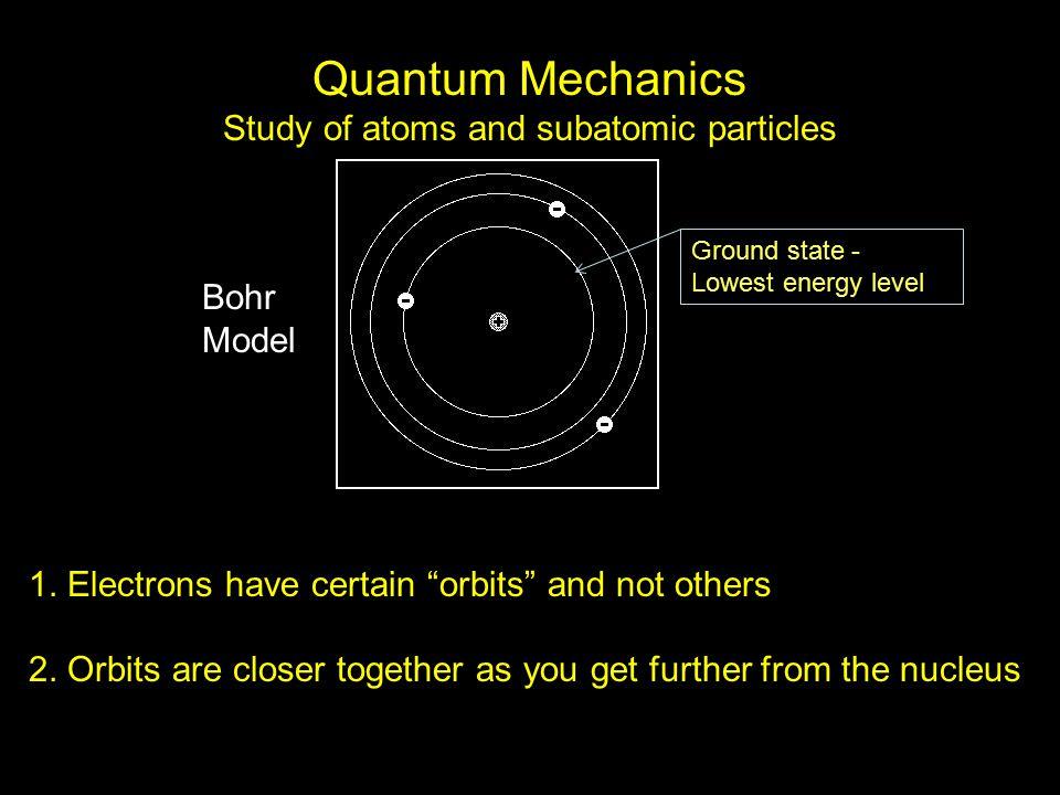 Quantum Mechanics Study of atoms and subatomic particles 1.